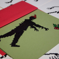 Zombie Santa holiday cards set of 10, 8 bit geek christmas stationery