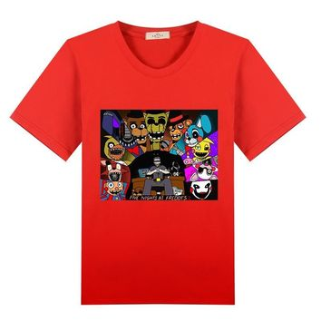 new  arrive  cotton t shirt  At Freddy Cartoon Baby Boys Girls Funny 5 Summer Tops Kids Casual