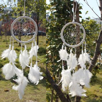 dream catcher decor hanging with White Feathers Hanging Decoration Dreamcatcher Net India Style Hourse Decoration