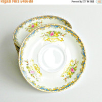SALE Vintage Kikusui Fine China Saucer, 1940s Noritake Style, Mid Century Japanese China Saucer, Hand Painted Floral, Gilt Trim