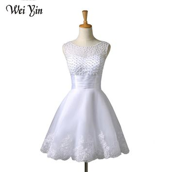 WeiYin 2018 New White/Ivory Short Wedding Dresses The Brides Sexy Lace Wedding Dress Bridal Gown Vestido De Noiva Real Sample