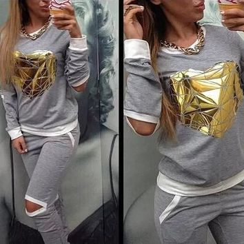 Gold Heart Hollow Out Lady Tracksuit Women Hoodies Sweatshirt +pant Jogging Sports Costumes Track Suit 2 Piece Set - Ready Stock