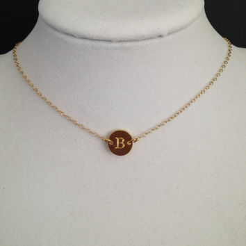 Gold Disk,Dainty,Initial Pendant,Initial Charm Necklace,Personalized gift,Small Necklace, Bridesmaid Gift, Wedding Jewelry