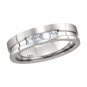 14kt White Gold Men's Princess Channel-set Diamond Single Row Wedding Band 1-2 Cttw - FREE Shipping (US/CAN)