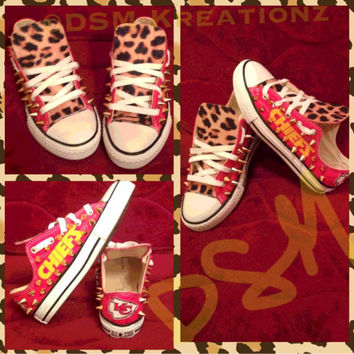 Custom Kansas City Chief Converse All Star Chuck Taylors, Leopard Edition