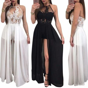 DCCKU62 2017 Summer Women Sexy Club Bandage Jumpsuit Halter Backless Perspective Mesh Chiffon Ladies Party Rompers With Skirt Overlay CM