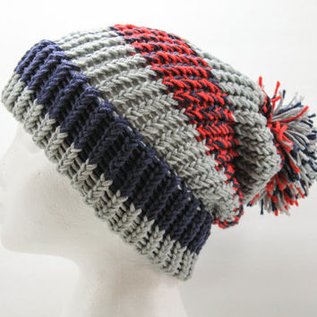 Knit Winter Pompom Hat, New England Patriots Colors