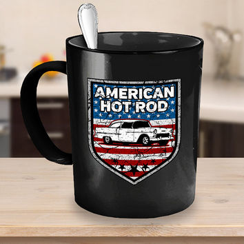 American Hot Rod Coffee Mug 11 - 15oz White - Black Ceramic Cup, Classic Car Mug, Vintage Automobile, Antique Vehicles