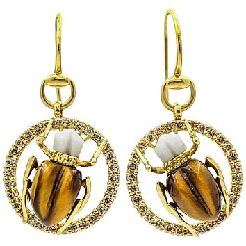 Gucci 18k Yellow Gold Tiger's Eye Agate Diamond Scarab Dangle Hook Earrings