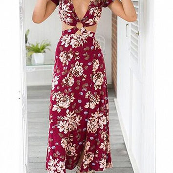 Burgundy Floral Print V-Neck Cut Out Split Maxi Dress