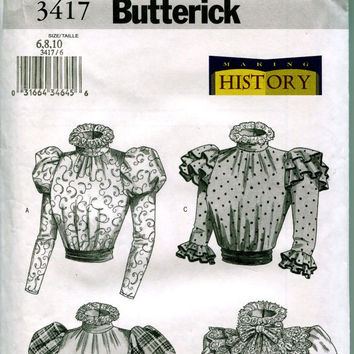 19th Century GIBSON GIRL Blouse Victorian Edwardian Steampunk Historical Costume Bust 30.5 31.5 32.5 Butterick 3417 UNCUT Sewing Patterns