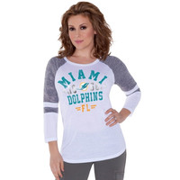 Touch by Alyssa Milano Miami Dolphins Ladies Stella Long Sleeve T-Shirt - White/Ash