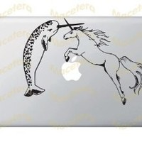Narwhal Versus Unicorn - Vinyl Laptop or Macbook Decal