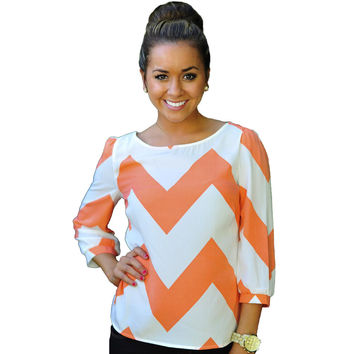 Orange Wave Print Long Sleeve Top