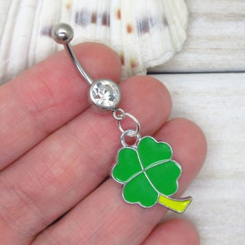 Green four leaf clover belly button rings , clover charm,  clover navel piercing, clover belly button ring jewelry,unique gift
