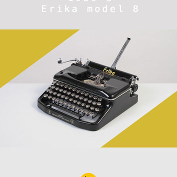 RESERVED /// 1952 Erika model 8 Typewriter. Fully working. Portable. East Germany. Glossy black. With case.