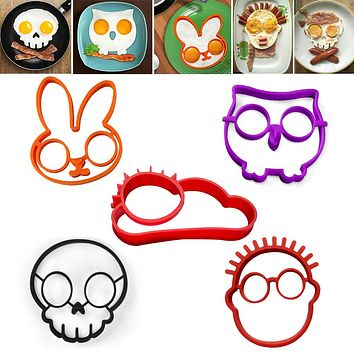 5Pcs/lot Non-stick Silicone Egg Molds Owl Rabbit Skull Boy Sun Shapes Pancake Rings Fried Eggs Omelette Mould Cooking Tools