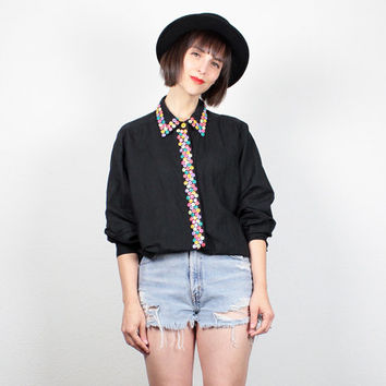 Vintage Black Collared Shirt 1980s RAINBOW Buttons Blouse Button Beaded 80s Shirt New Wave Draped Linen Cotton Oversize Top L Extra Large XL