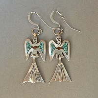 SIGNED Vintage Native American STERLING Navajo Earrings Peyote Bird TURQUOISE Coral Chip Inlay c.1960's