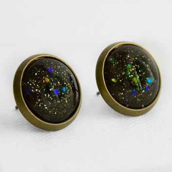 Black Hole Earrings in Antique Bronze - Black with Small Gold & Silver Glitters and Large Indigo, Blue, Green and Orange Glitter Studs