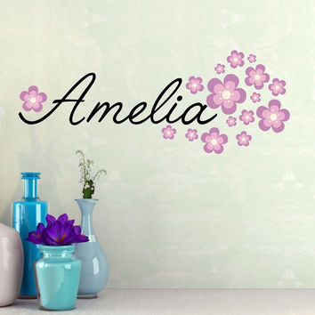 Fancy Name wall decal - by Decor Designs Decals, baby girl personalized vinyl name includes flowers - name wall decal - script style wall name decal - flowers B2