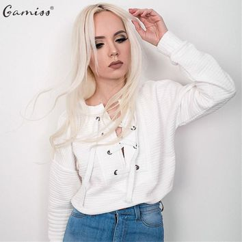 Gamiss Autumn Space Cotton Lace Up Sweatshirt Women V-neck Ladies Hoodies Warm Shirts White Crop Top Long Sleeve Girl's Shirt