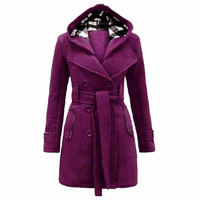 Women Winter Jacket Plus Size 3xlElegant With Belt Long Warm England Style Coat Hooded Windbreaker Giubbotti Invernali Donna#B12