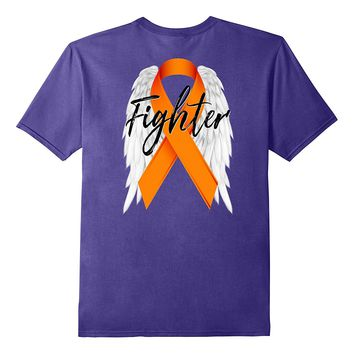 Leukemia Cancer Shirt Survivor Fighter Wings Orange Ribbon