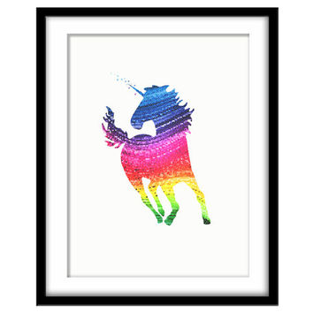 Rainbow Unicorn, Colourful Mosaic Art, Printable Poster, Girls Room, Nursery Art, Wall Art