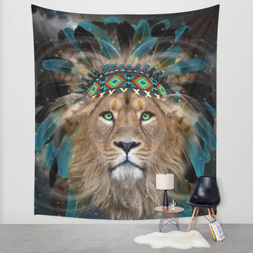 Fight For What You Love (Chief of Dreams: Lion) Tribe Series Wall Tapestry by Soaring Anchor Designs