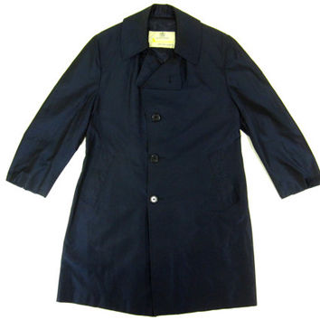 Vintage Aquascutum Silk Rain Coat in Navy Blue - Aqua 5 Trench Ivy League Menswear - Men's Size Large Medium Med Lrg M L