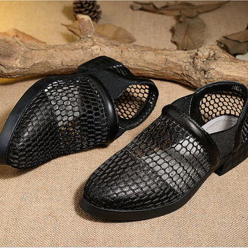 Handmade Women's soft Leather Hollow Sandals Sexy mesh shoes, Summer Sandals for Women,Flat Shoes, Black Sandals