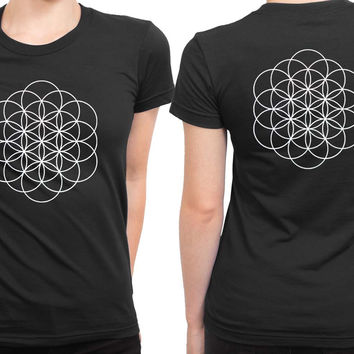 Coldplay A Head Full Of Dreams Logo Black And White 2 Sided Womens T Shirt