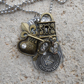 "Key To My Heart Freeform Dog Tag Necklace with 30"" aluminum ball chain, metal charms and genuine Swarovski flat back crystals."