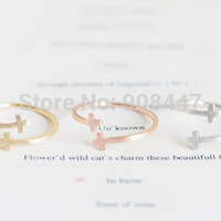 -R056 Fashion Jewelry Double Cross Cuff Finger Ring For  Stretch Rings,Christian Church Rings