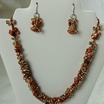 Flowering Rope Freshwater Pearl Necklace and Earring Set F103