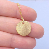 Disc Necklace-Gold Vermeil Disc 14mm -14K Gold Filled Chain- simple, everyday wear-Great Gift