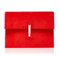 Corduroy and Leather Soft Clutch | Moda Operandi