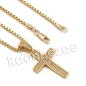 Lab diamond Micro Pave Dope Jesus Cross Pendant w/ Miami Cuban Chain BR132