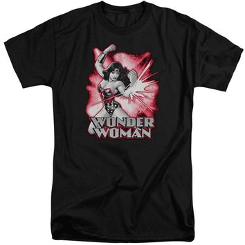 Jla - Wonder Woman Red & Gray Short Sleeve Adult Tall