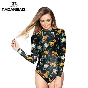 Brand Loog Sleeve Zippered Surfing Bathing Suit Cartoon Animals Printed Women Swimwear Bodysuit One Piece Swimsuit Y02030