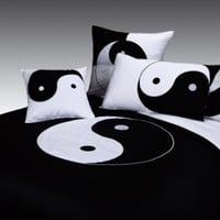 Black and White Full Queen Duvet Cover 3pcs Bedding Set, Embroidered Oriental Yin Yang Style Design, 100% Cotton Sateen Orient Sense