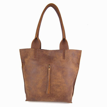 Brown Distressed Leather Tote Bag / Office Bag / Soft Leather Bag / Women Purse / Sac Bag / Lined Bag / Shoulder Bag / Handbag - Milla