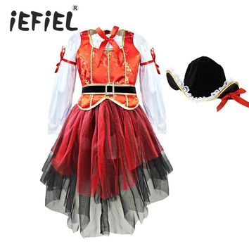 Carnival Halloween Christmas Pirate Girls Party Cosplay Costume for Children Kids Dress + Hat Outfits Clothes