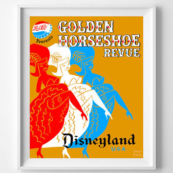 Vintage Disneyland, Print, Golden Horseshoe Revue Poster, Fantasyland, Giclee Art, Vintage Wall Decor, Bed Room Decor, Halloween Decor