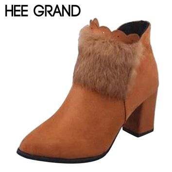 HEE GRAND Faux Fur Decoration Pointed Toe Winter Shoes with Zip Women Ankle Boot with Thick High Heel Women's Shoes XWX6242