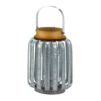 Iron Large Galvanized Metal Candle Holder Lantern