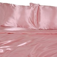Elite Home Products Collection Silky Luxurious Woven Satin 4-Piece Sheet, Queen, Pink