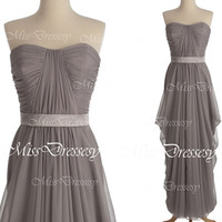 Strapless Sweetheart Floor Length Chiffon Gray Long Bridesmaid Dresses, Long Prom Dresses, Wedding Party Dresses, Formal Gown