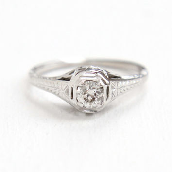 Sale - Antique 18k White Gold Art Deco 1/5 Carat Solitaire Diamond Ring - Size 7 Vintage Filigree 1920s Fine Engagement Bridal Jewelry
